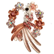 Acosta Brooches - Pink Enamel with Crystal - Floral Wreath Peacock Bird Brooch