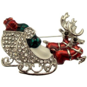 Acosta Brooches - Festive Santa's Sleigh and Reindeer Brooch - Fun Christmas Gift