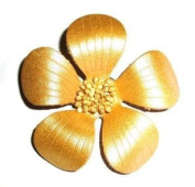Gold Leather 'Bloom' Brooch
