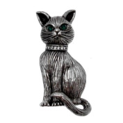 Acosta Brooches - Vintage Style Pewter Silver Coloured Cat Brooch - Gift Boxed