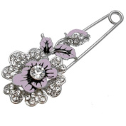 Bethany Brooches - Lilac Enamel FLOWER and Leaves Kilt Pin Brooch with Sparkling Clear Crystals measures 7.6cmx3cms - Gift Boxed