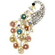 Brooches Store Multicoloured Frosted Crystal Peacock Brooch