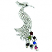 Brooches Store Silver & Multi Crystal Peacock Bird Brooch