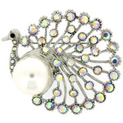 Brooches Store Pearl Silver & AB Crystal Peacock Bird Brooch