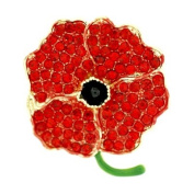 Brooches Store Red Crystal and Gold Poppy Flower Brooch