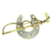 Brooches Store Gold & Crystal Polo Mallet & Horse Shoe Brooch