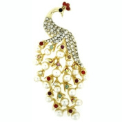 Brooches Store Multicoloured Crystal & Pearl Peacock Brooch