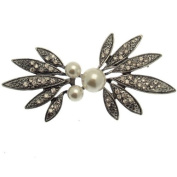 Acosta Brooches - Clear Crystal & Faux Pearl - Silver Tone Floral Corsage Brooch - Vintage Style