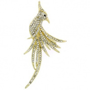 Brooches Store Gold & Clear Crystal Exotic Peacock Bird Brooch