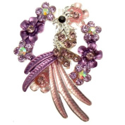 Acosta Brooches - Purple & Pink Enamel with Crystal - Floral Wreath Peacock Bird Brooch