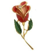 Acosta Brooches - Red & Pink Toned Enamel & Faux Pearl - Classic Golden Flower Brooch - Costume Jewellery Gift