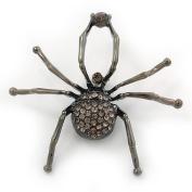 Giant Dim Grey Crystal Spider Brooch In Gun Metal Finish - 7cm Length