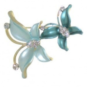 BUTTERFLY DOUBLE Gold Jade Crystal Butterfly Brooch