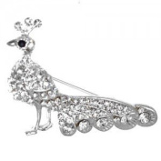 Peacock Silver Clear Crystal Brooch