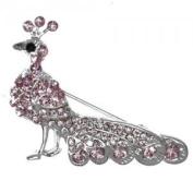 Peacock Silver Pink Crystal Brooch