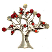 Acosta Brooches - Siam Red & Opal. Crystal - Vintage Style Tree of Life Brooch - Gift Boxed