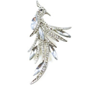 Brooches Store Silver and Crystal Peacock Bird Brooch