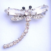 White Crystal & Diamante Dragonfly Shaped Brooch