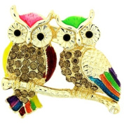 Brooches Store A Pair of Multicoloured Enamel & Topaz Crystal Owls on a Branch B