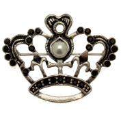 Acosta Brooches - Vintage Style Pearl & Jet Black Crystal Crown Brooch