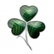 Green Enamel Shamrock Brooch in Gift Box