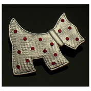 Acosta Brooches - Silver Coloured with Red Crystal - Scottish Terrier Scottie Dog Brooch - Gift Boxed