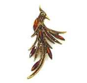 Brooches Store Topaz Crystal & Antique Gold Peacock Brooch