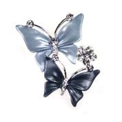 Elegant Extras Silver Grey Butterflies Flower Brooch