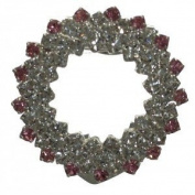 COREOPSIS Silver Pink Crystal Scarf Clip / Brooch