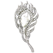 Brooches Store Elegant Silver & Crystal Peacock Feather Brooch