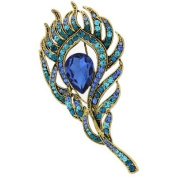 Brooches Store Elegant Gold & Aqua Blue Crystal Peacock Feather Brooch