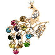 Brooches Store Multicoloured Crystal Peacock on a Branch Brooch