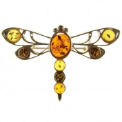 Baltic amber and sterling silver 925 designer multi-coloured dragonfly brooch pin jewellery jewellery