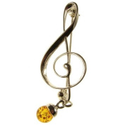 Baltic amber and sterling silver 925 designer cognac music clef brooch pin jewellery jewellery