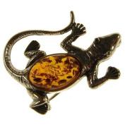 Baltic amber and sterling silver 925 designer cognac lizard brooch pin jewellery jewellery