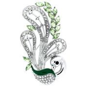 Brooches Store Green Enamel & Peridot Crystal Peacock Bird Brooch