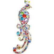 Brooches Store Silver & Multicoloured Crystal Peacock Bird Brooch