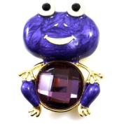Brooches Store Purple Enamel & Amethyst Crystal Frog Brooch
