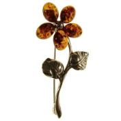 Baltic amber and sterling silver 925 designer cognac flower brooch pin jewellery jewellery