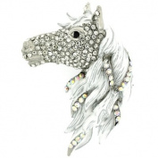 Brooches Store Large Antique Silver and AB Crystal White Horse Head Brooch Pe