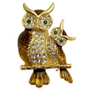 Acosta Brooches- Brown Toned Enamel & Crystal - Golden Double Owl Brooch - Gift Boxed