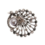 Bedazzled Grey and Black Crystal and Silver Coloured Peacock Bird Animal Fashion Brooch with Faux Pearl - Gift Boxed
