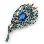 Vintage Blue/Teal. Crystal 'Peacock Feather' Brooch In Burn Gold - 8cm Length