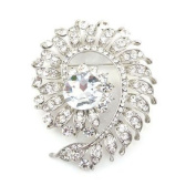 Brooches Store Large Clear Crystal & Antique Silver Paige Brooch