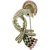 Brooches Store Antique Gold and Crystal Elegant Peacock Bird Brooch