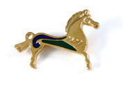 Historic Jewellery Reproduction Gold plated pewter - Roman Horse brooch - Unisex - Length 36mm