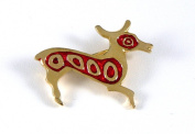 Historic Jewellery Reproduction Gold plated pewter - Roman Deer brooch - Unisex - Length 30mm