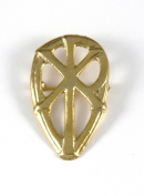 Historic Jewellery Reproduction Gold plated pewter - Khi Rho brooch - Unisex - Width 46mm