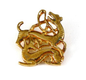 Historic Jewellery Reproduction Gold plated pewter - Strap end brooch - Unisex