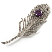 Large. Crystal Peacock Feather Silver Tone Brooch (Clear & Purple) - 11.5cm Length